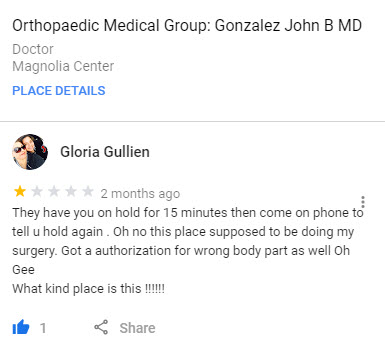 Gloria Gullien Review of Dr. John Gonzalez Orthopedic Doctor