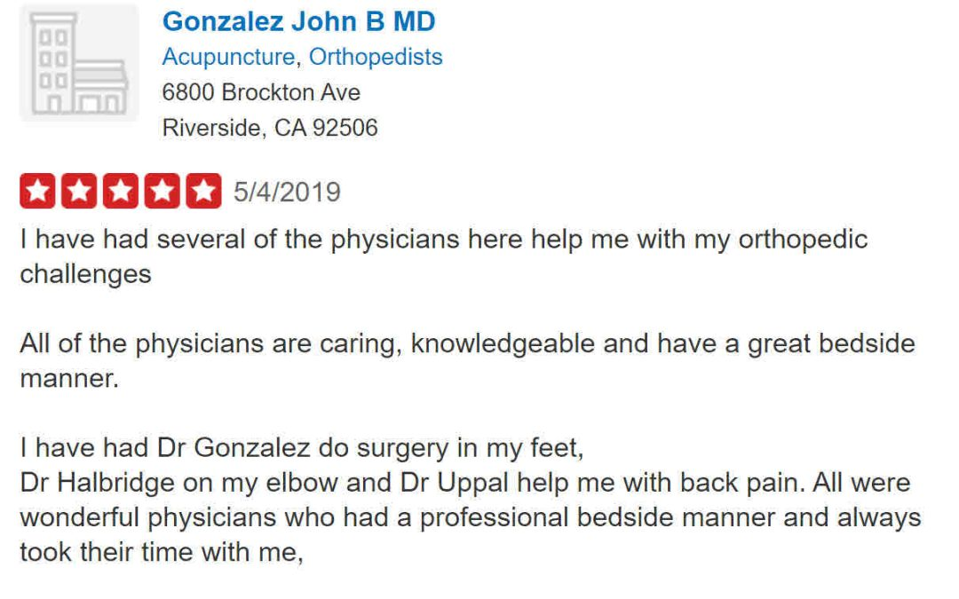 Is Orthopedic Medical Group of Riverside Using Fake Reviews To Improve Their Horrible Image?